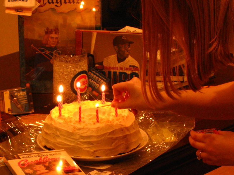Lighting the birthday candles