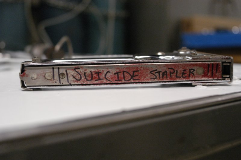 The Suicide Stapler with its telltale blood stains